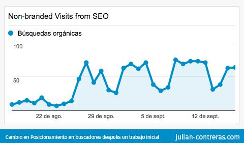 Estadísticas: Posicionamiento en buscadores y evolución de visitas non-branded